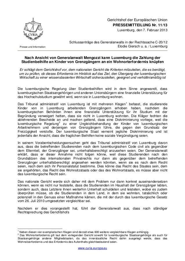 Gerichtshof der Europäischen Union                                                                      PRESSEMITTEILUNG N...