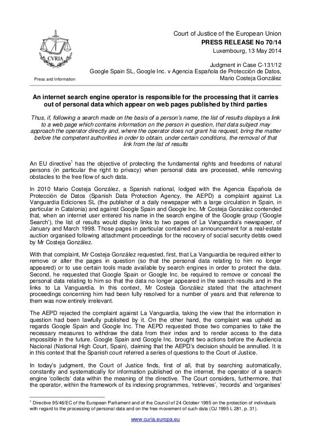 www.curia.europa.eu Press and Information Court of Justice of the European Union PRESS RELEASE No 70/14 Luxembourg, 13 May...
