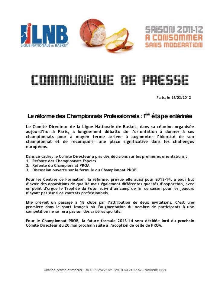 COMMUNIQUE DE PRESSE                                                                                  Paris, le 26/03/2012...
