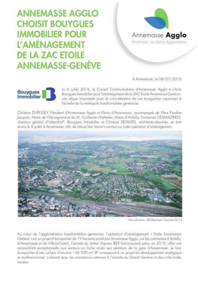 Annemasse Agglo choisit Bouygues Immobilier pour l'aménagement de la ZAC Etoile Annemasse-Genève À Annemasse, le 08/07/201...