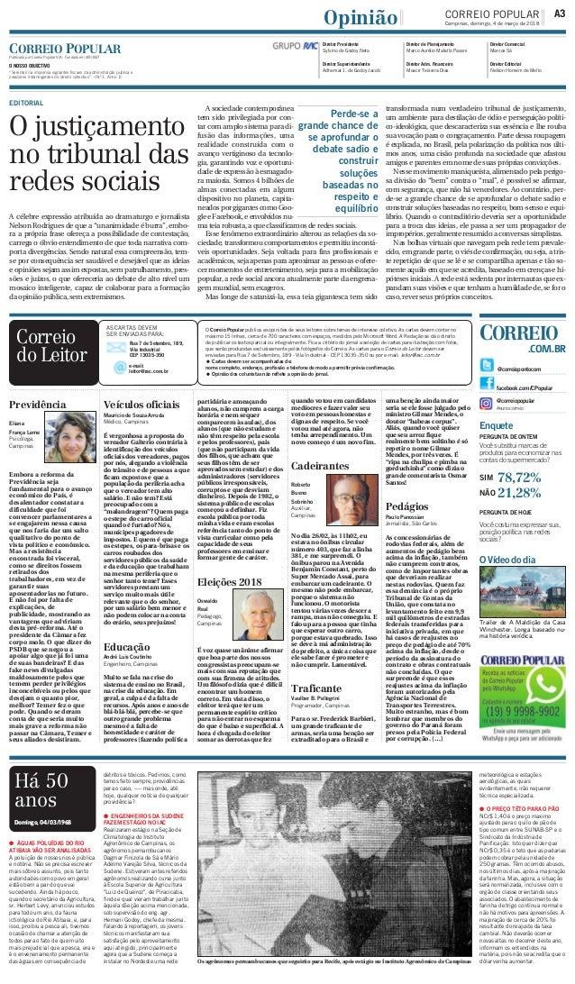 Previdência Eliana França Leme Psicóloga, Campinas Embora a reforma da Previdência seja fundamental para o avanço econômic...
