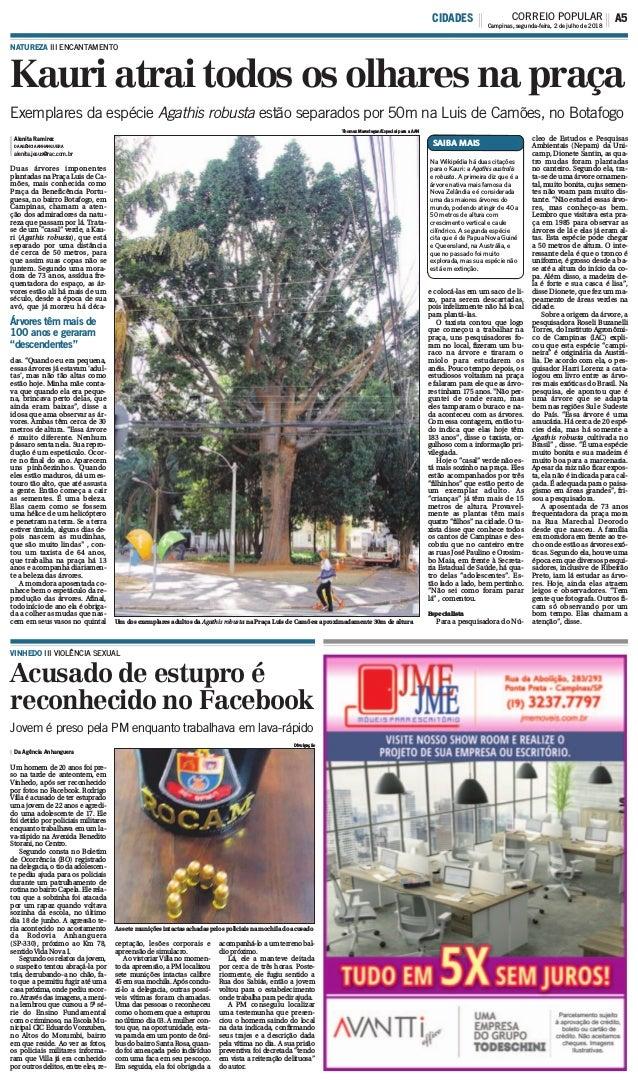 Kauri atrai todos os olhares na praça Acusado de estupro é reconhecido no Facebook NATUREZA III ENCANTAMENTO Alenita Ramir...