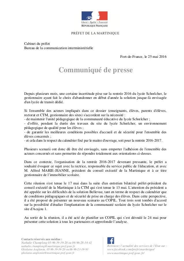 Contacts réservés aux médias : Nathalie Champlong 05-96-39-39-20 ou 06-96-28-34-42 nathalie.champlong@martinique.pref.gouv...