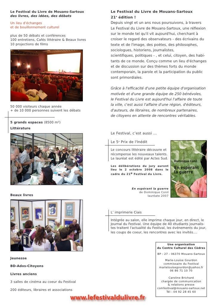 Cp 21e festival du livre de mouans sartoux - Salon du livre mouans sartoux ...