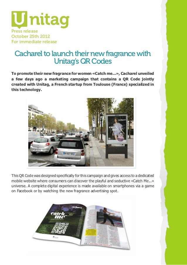 Press releaseOctober 25th 2012For immediate release Cacharel to launch their new fragrance with              Unitag's QR C...