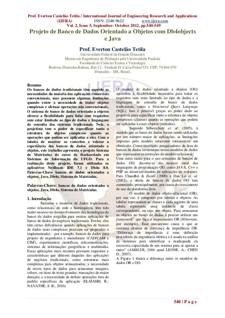 Prof. Everton Castelão Tetila / International Journal of Engineering Research and Applications               (IJERA)      ...