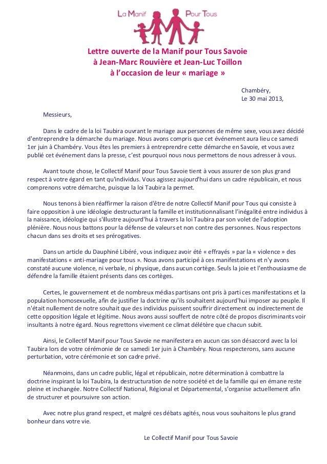 Lettre ouverte de la Manif pour Tous Savoieà Jean-Marc Rouvière et Jean-Luc Toillonà l'occasion de leur « mariage »Chambér...