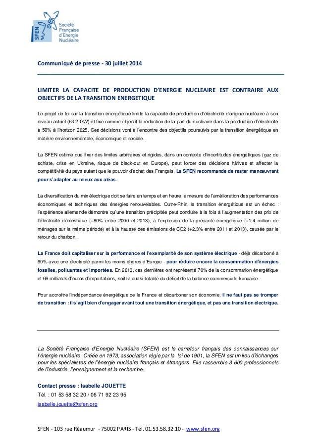 SFEN - 103 rue Réaumur - 75002 PARIS - Tél. 01.53.58.32.10 - www.sfen.org Communiqué de presse - 30 juillet 2014 LIMITER L...