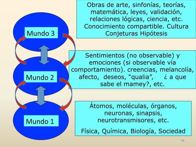 Mundo  1   Mundo  2   Mundo  3   Átomos, moléculas, órganos, neuronas, sinapsis, neurotransmisores, etc. Físic...