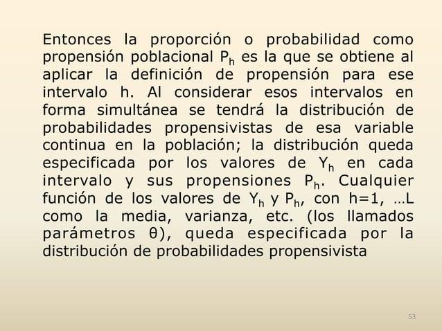 Entonces la proporción o probabilidad como propensión poblacional Ph es la que se obtiene al aplicar la definición de prop...