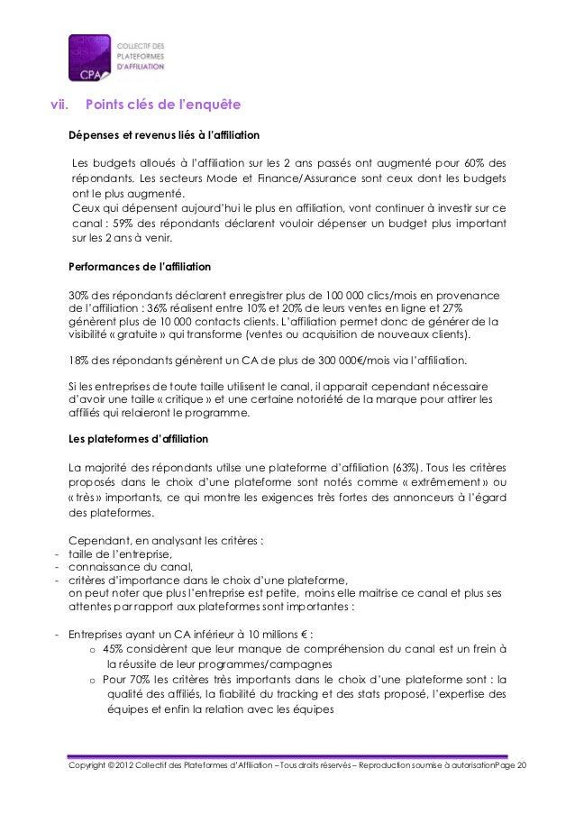 vii.     Points clés de l'enquête   Dépenses et revenus liés à l'affiliation       Les budgets alloués à l'affiliation sur...