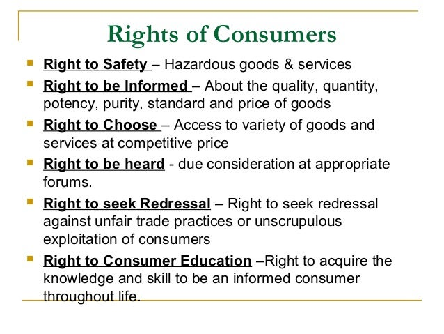 consumer protection act  rights of consumers