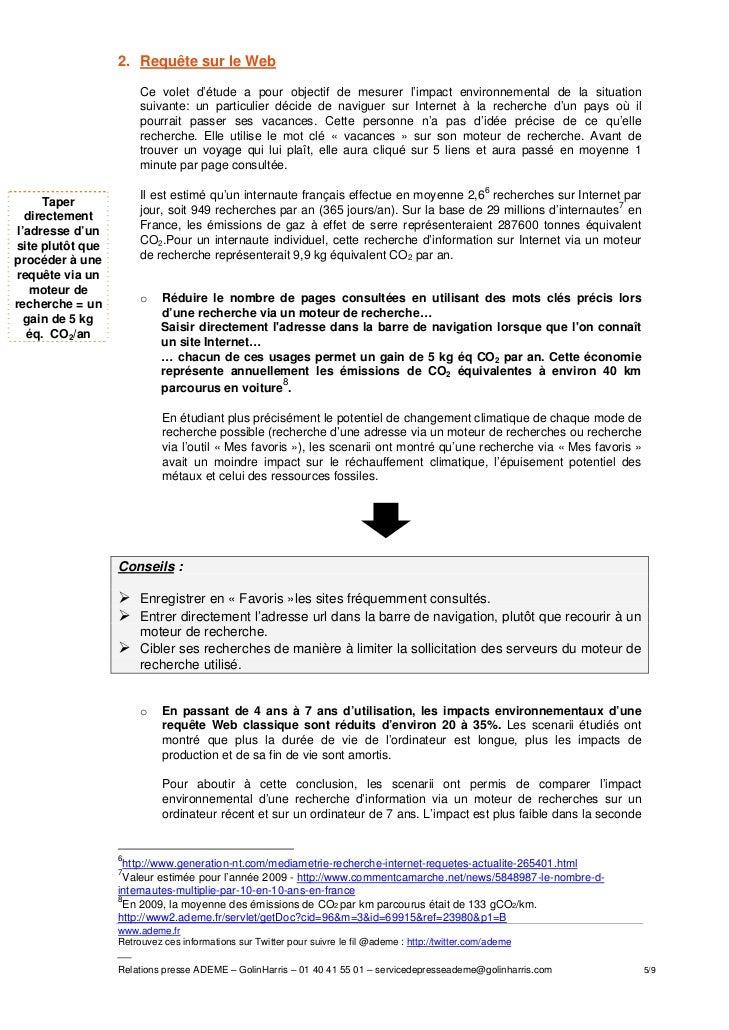 2. Requête sur le Web                       Ce volet d'étude a pour objectif de mesurer l'impact environnemental de la sit...