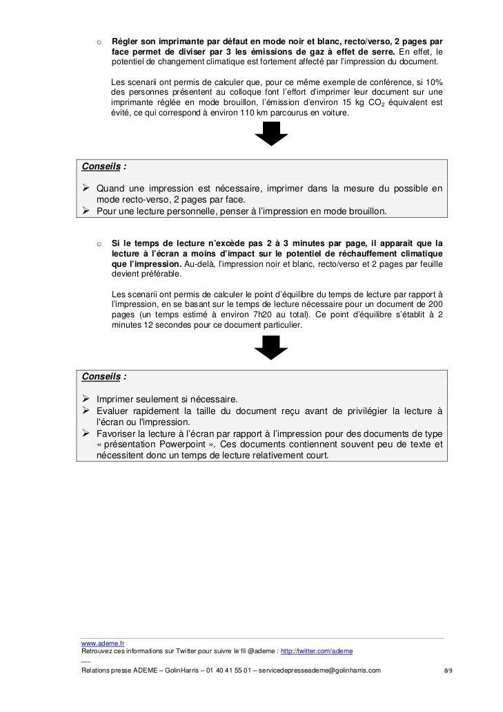 o    Régler son imprimante par défaut en mode noir et blanc, recto/verso, 2 pages par          face permet de diviser par ...