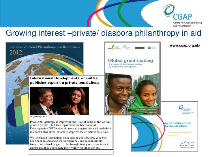 Growing interest –private/ diaspora philanthropy in aid                                                                   ...