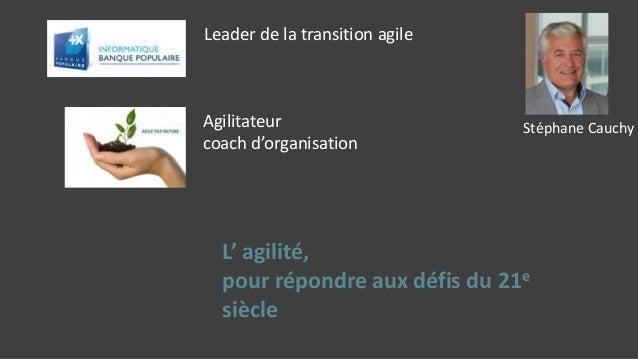 Leader de la transition agile Agilitateur coach d'organisation L' agilité, pour répondre aux défis du 21e siècle Stéphane ...