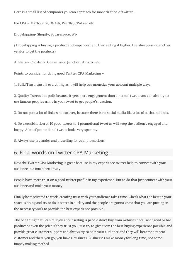 CPA Marketing with Twitter Full Guide