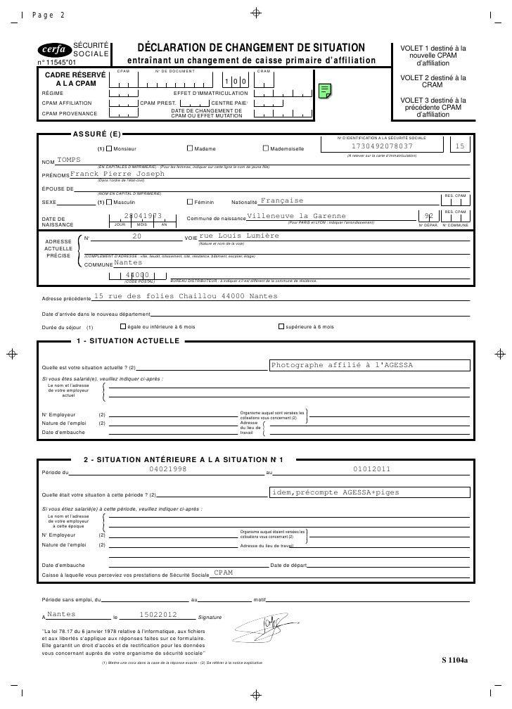 formulaire s1104