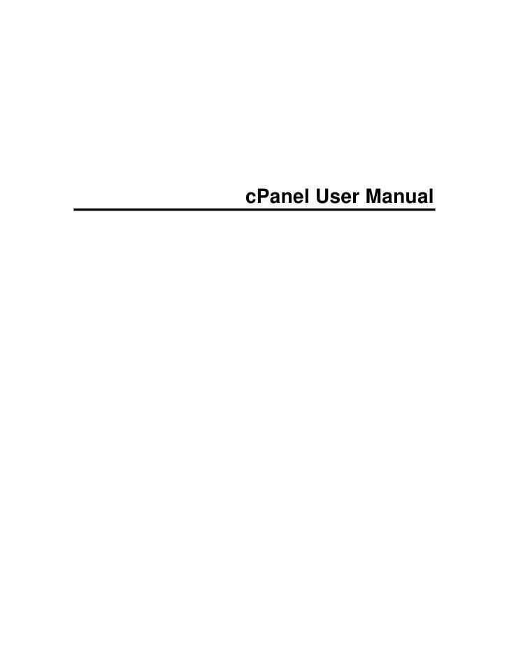 cPanel User Manual
