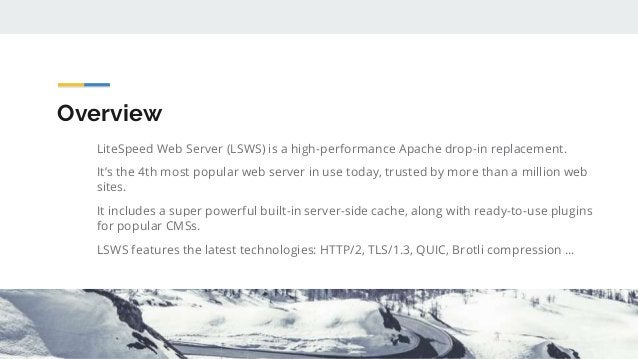 Overview LiteSpeed Web Server (LSWS) is a high-performance Apache drop-in replacement. It's the 4th most popular web serve...