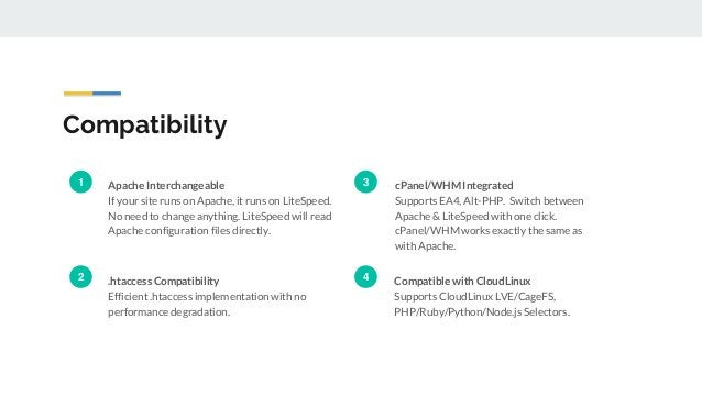 Compatibility Apache Interchangeable If your site runs on Apache, it runs on LiteSpeed. No need to change anything. LiteSp...