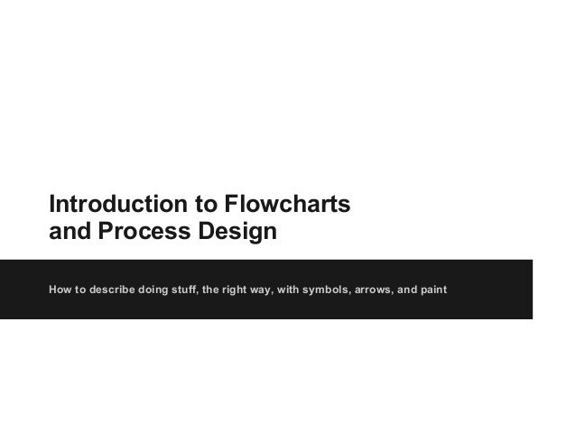 Introduction to Flowcharts and Process Design How to describe doing stuff, the right way, with symbols, arrows, and paint