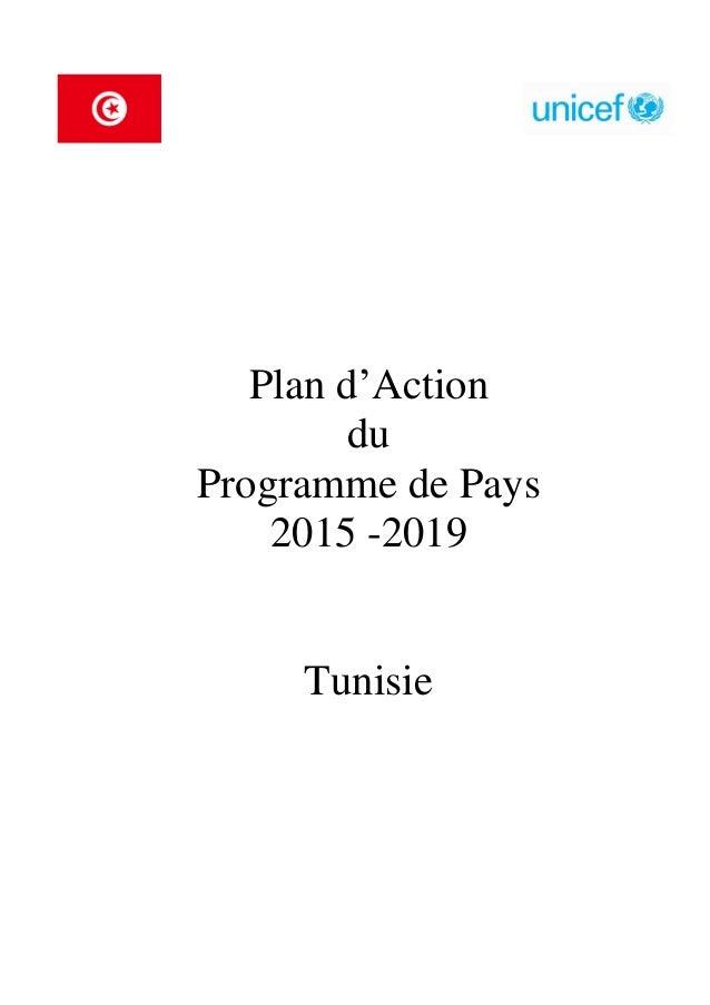 Plan d'Action du Programme de Pays 2015 -2019 Tunisie