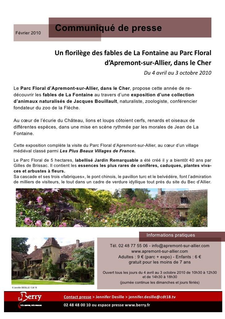 Février 2010                               Communiqué de presse                                Un florilège des fables de ...