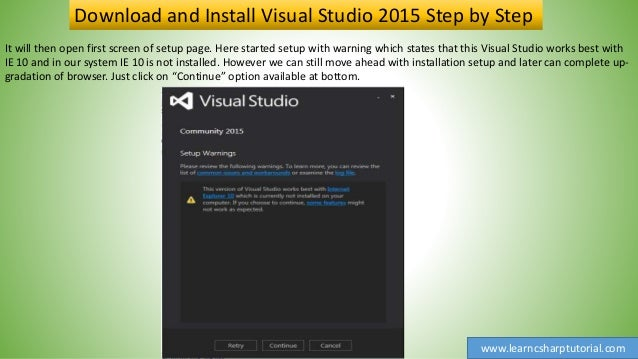 Download and Install Visual Studio 2015 Step by Step