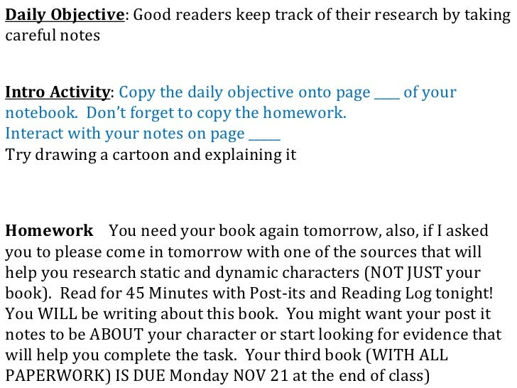 Daily Objective : Good readers keep track of their research by taking careful notes Intro Activity :  Copy the daily objec...