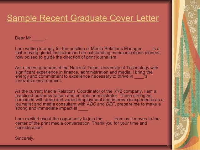 20. Sample Recent Graduate Cover Letter ...