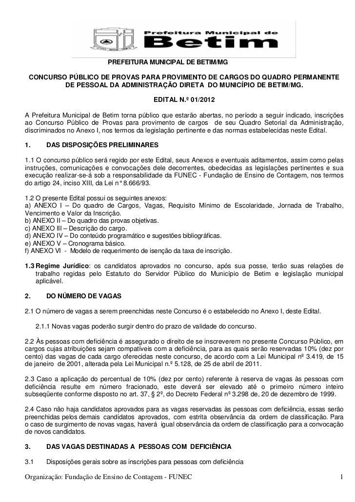 PREFEITURA MUNICIPAL DE BETIM/MG CONCURSO PÚBLICO DE PROVAS PARA PROVIMENTO DE CARGOS DO QUADRO PERMANENTE         DE PESS...