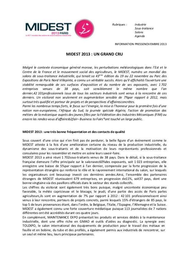 Rubriques :  Industrie Sous-traitance Salons Agenda  INFORMATION PRESSENOVEMBRE 2013  MIDEST 2013 : UN GRAND CRU Malgré le...