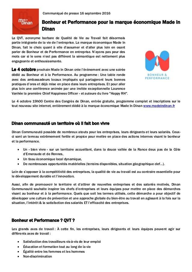 Communiqué de presse 16 septembre 2016 Bonheur et Performance pour la marque économique Made In Dinan La QVT, acronyme bar...
