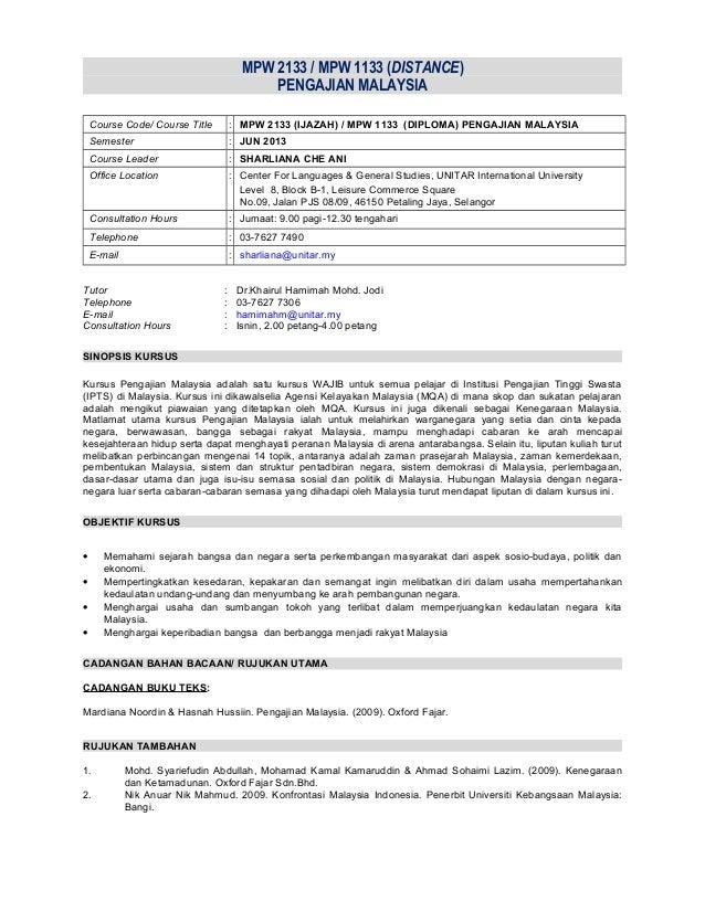 MPW 2133 / MPW 1133 (DISTANCE) PENGAJIAN MALAYSIA Course Code/ Course Title  : MPW 2133 (IJAZAH) / MPW 1133 (DIPLOMA) PENG...