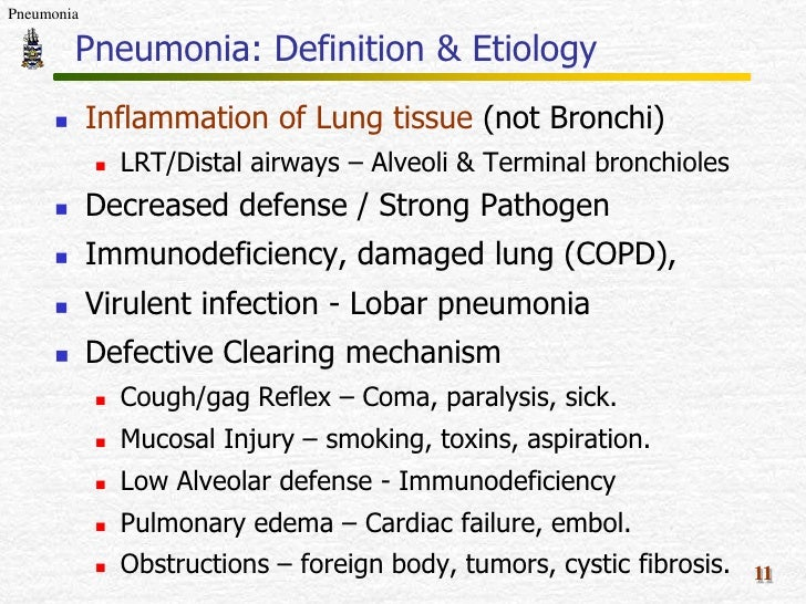 pathology of pneumonia, Human Body