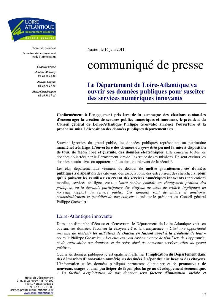 Cabinet du président                                                          Nantes, le 16 juin 2011         Direction de...
