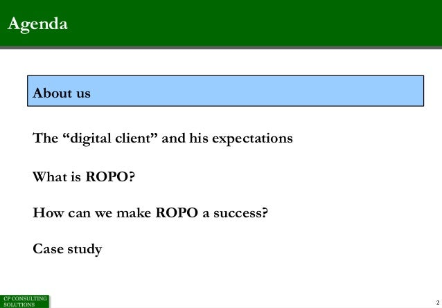 CP Consulting ROPO in practice: experiences and case studies Slide 2