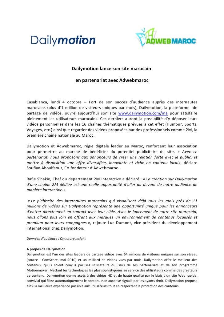 dailymotion lance son site marocain en partenariat avec adwebmaroc. Black Bedroom Furniture Sets. Home Design Ideas
