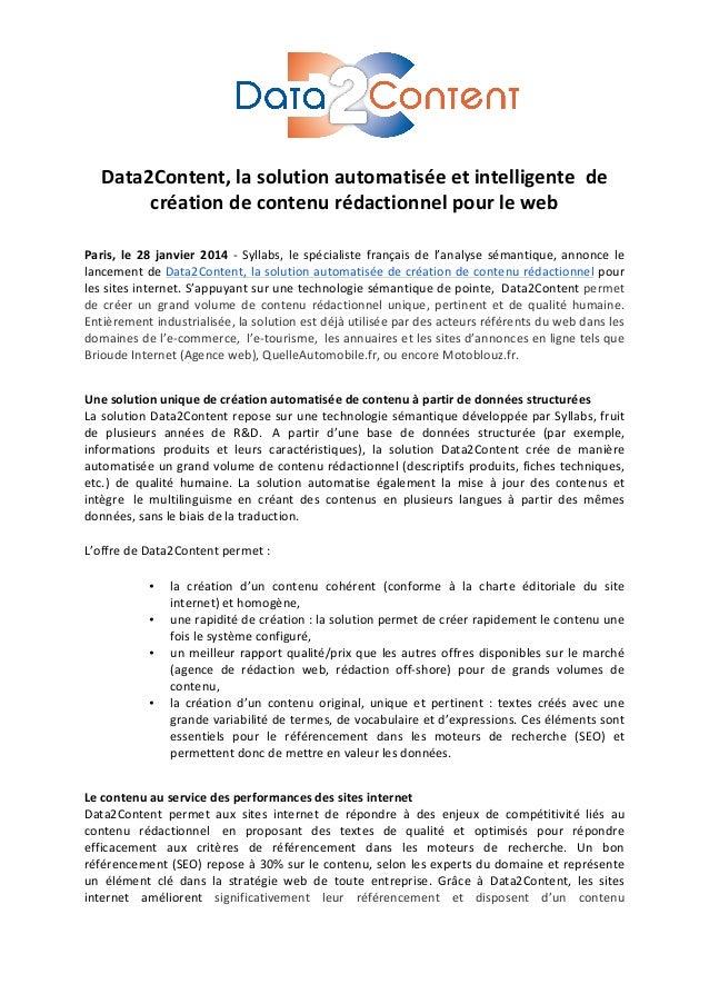 Data2Content,  la  solution  automatisée  et  intelligente    de   création  de  contenu ...