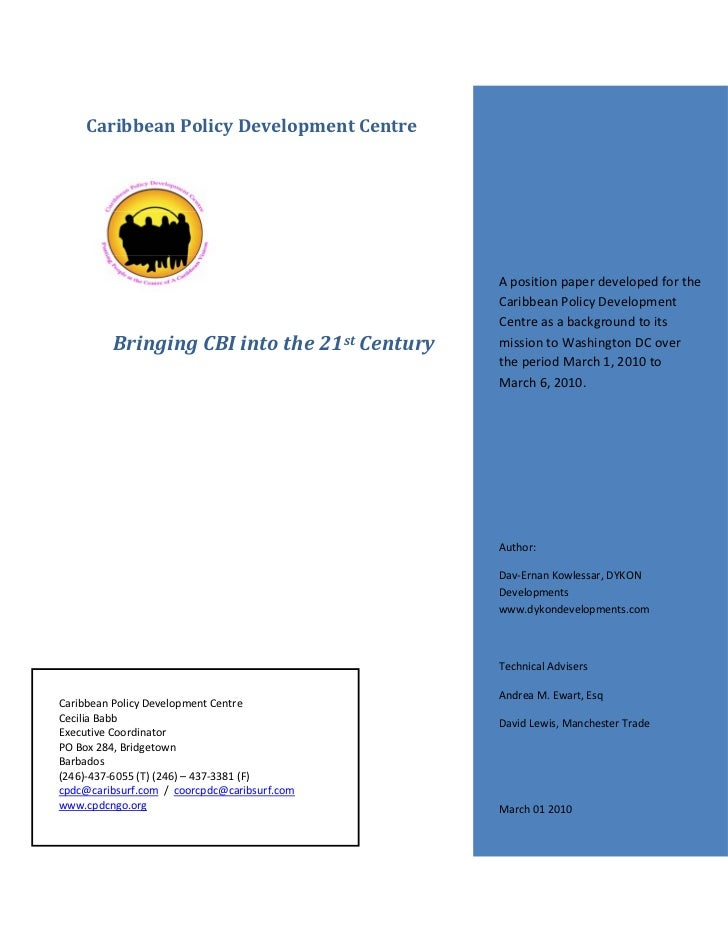 Caribbean Policy Development Centre                                              A position paper developed for the       ...