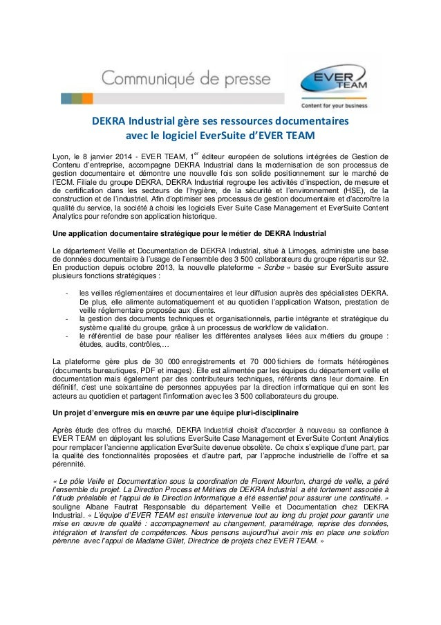 DEKRA Industrial gère ses ressources documentaires avec le logiciel EverSuite d'EVER TEAM er  Lyon, le 8 janvier 2014 - EV...