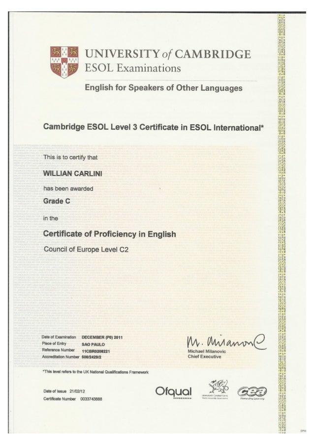 Willian Carlini Certificate Of Proficiency In English