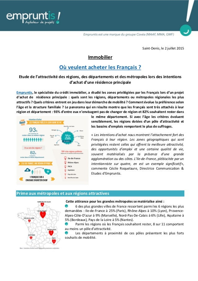 Saint-Denis, le 2 juillet 2015 Immobilier Où veulent acheter les Français ? Etude de l'attractivité des régions, des dépar...