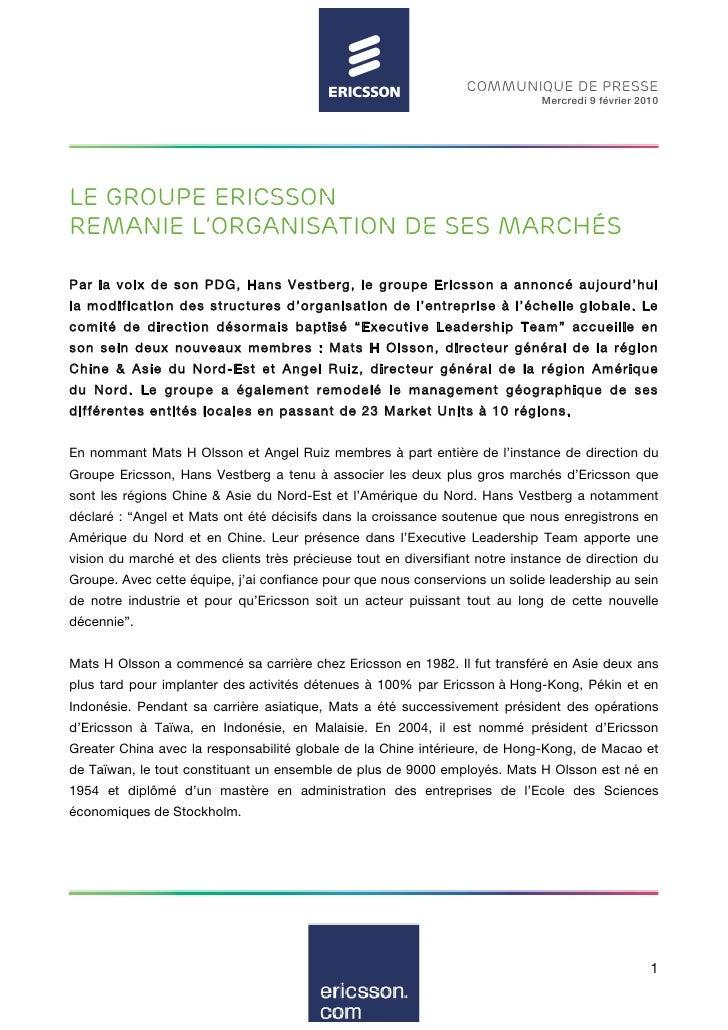 COMMUNIQUE DE PRESSE                                                                               Mercredi 9 février 2010...