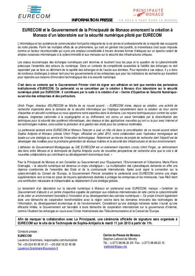 INFORMATION PRESSEEURECOM et le Gouvernement de la Principauté de Monaco annoncent la création àMonaco d'un laboratoire su...