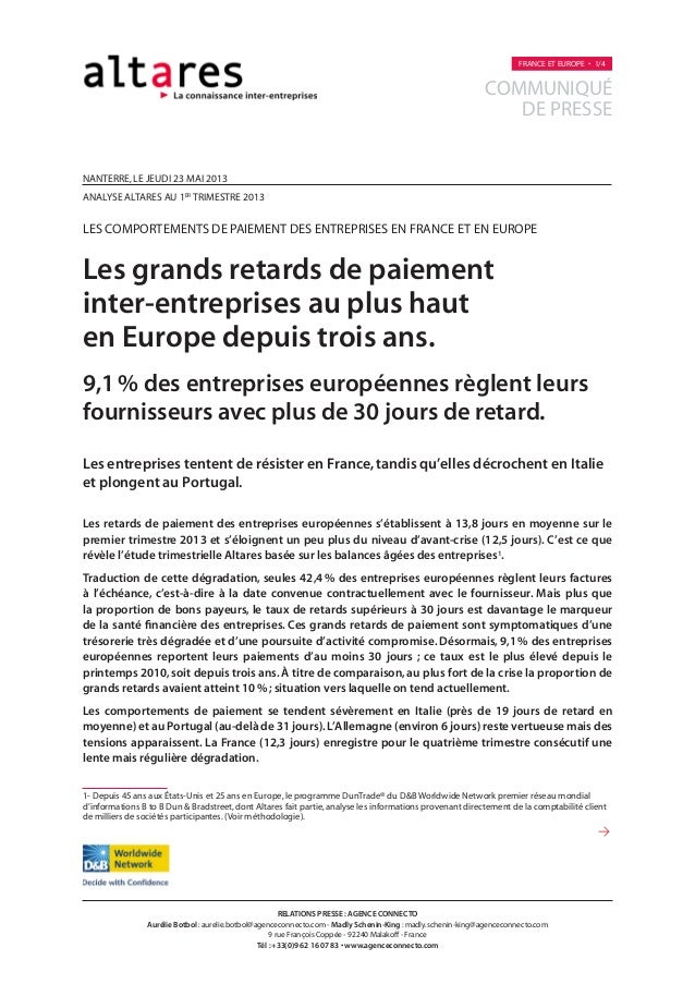 nanterre,LE jeuDI 23 MAI 2013analyse altares au 1ertrimestre 2013les comportements de paiement des entreprises EN FRANCE E...