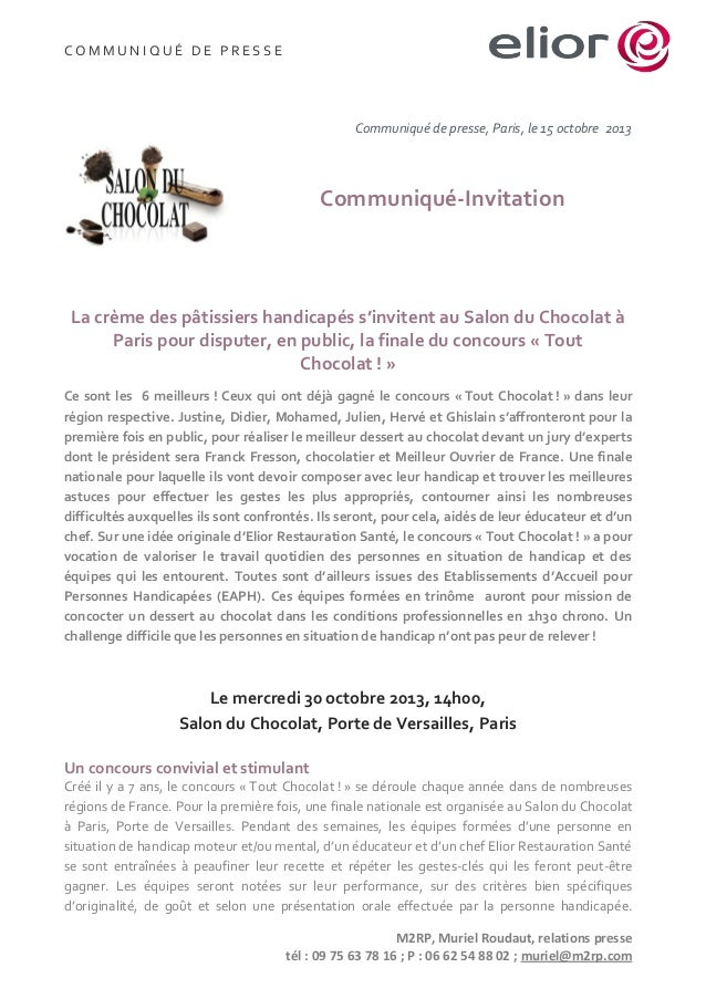 COMMUNIQUÉ DE PRESSE  Communiqué de presse, Paris, le 15 octobre 2013  Communiqué-Invitation  La crème des pâtissiers hand...