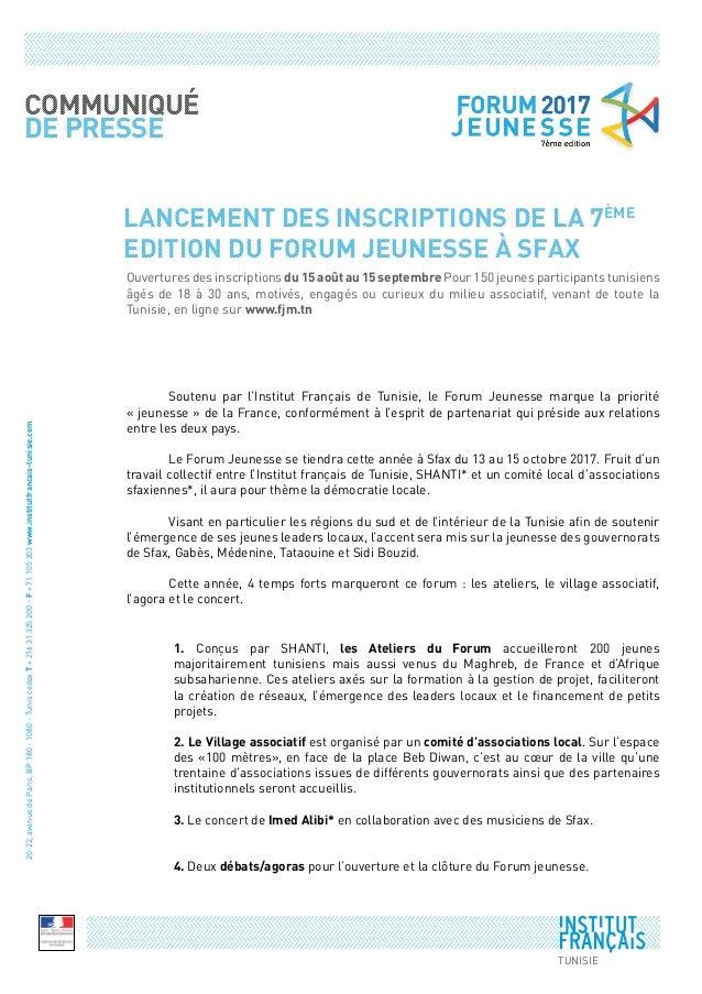 LANCEMENT DES INSCRIPTIONS DE LA 7ème EDITION DU FORUM JEUNESSE à SFAX  Soutenu par l'Institut Français de Tunisie, le Fo...