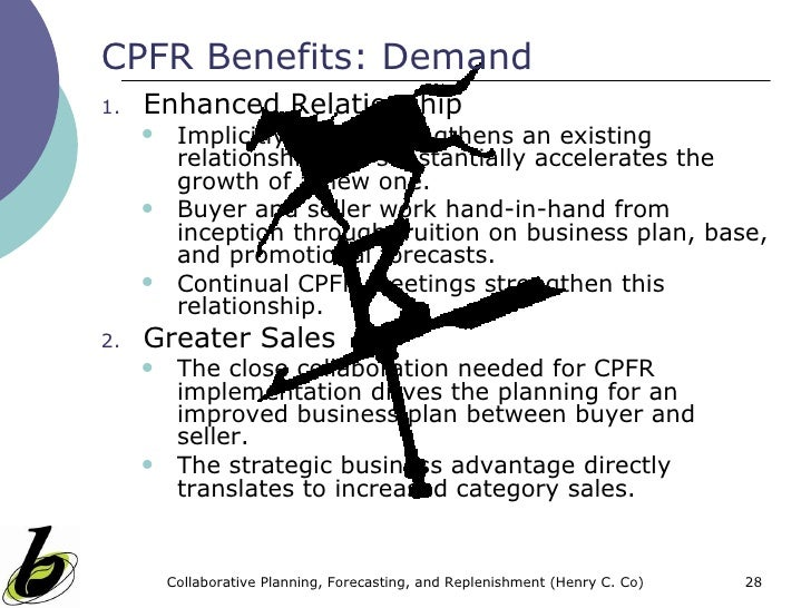 cpfr as a strategy Collaborative planning, forecasting and replenishment (cpfr) is a business practice that combines the intelligence of multiple trading partners in the planning and fulfilment of customer demand the concept describes the cpfr process model, including the major capabilities and underlying success factors.